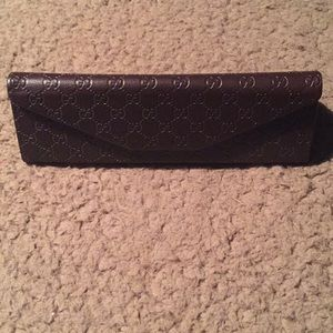 New Gucci eyeglass sunglasses case leather